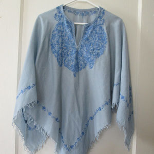 Vintage floral blue poncho 80s women's one size
